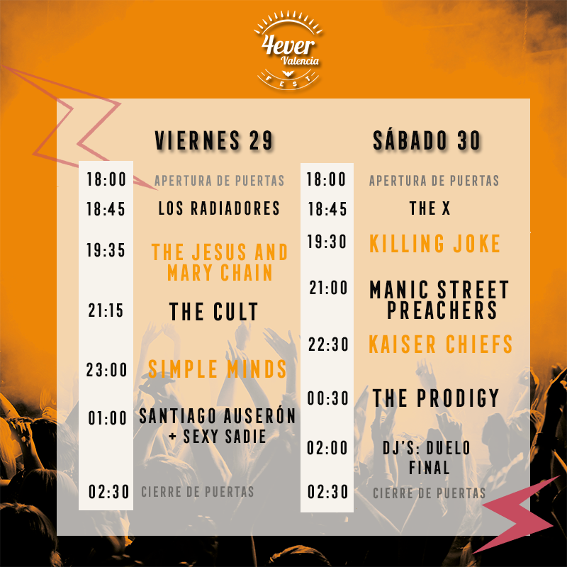 Horarios 4ever Valencia Fest