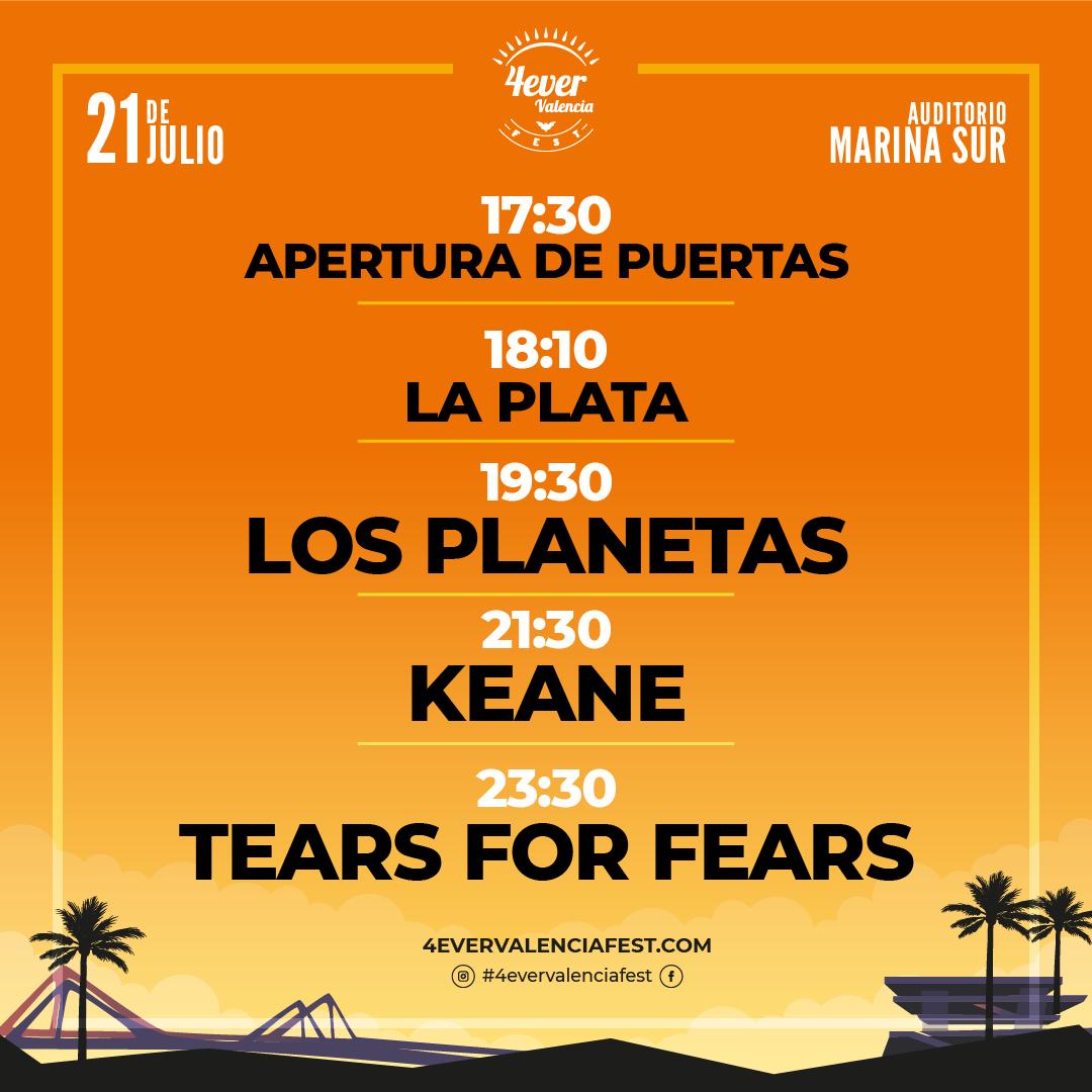 Horarios 4ever Valencia Fest 2019